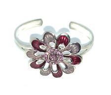 Silver Flower Bangle / Bracelet With Purple & Lilac Enamel & Crystals .
