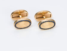 Vintage Tiffany & Co. Oval Double Sided Sapphire 14K Yellow Gold Cufflinks
