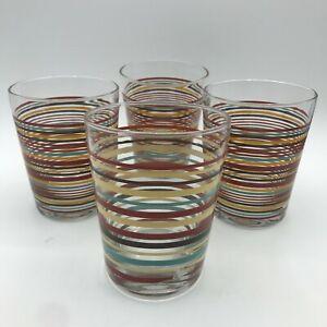 "Set of 4 Fiesta Striped Glasses Tumblers 4-1/2"" (3 identical) Homer Laughlin"