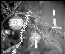 Sapin décorations de Noël Boules bougie - Ancien négatif photo an. 1930 40
