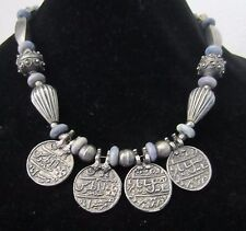 Necklace-with pendants, silver metal beads with accent  of blue beads