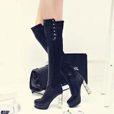 women High Block Heel Platform Black Pull On Rhinestone Over knee High Boots