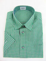 Ex Marks and Spencer Mens Shirt Office Work Regular Fit Short Sleeve Green Check