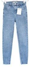 Topshop SUPER SKINNY JAMIE High Waisted Blue Stretch Crop Jeans Size 6 W26 L30