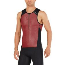 New 2XU Men Perform Tri Singlet MEDIUM Red Triathlon Sleeveless Top MT4851a
