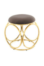 Stool Chrome Rose Gold round Modern Sitting Living Room Deco Pouf Grey Taupe