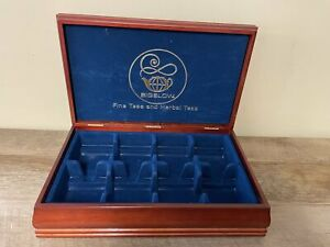 BIGELOW Tea Bag Wood Hinged Storage Chest Box Cherry Finish Blue Felt Lining