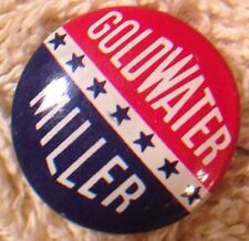 pin back Goldwater Miller political presidential campaign original button 1964