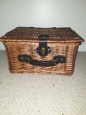 Wicker basket -storage/picnic/display. Brown woven used good condition