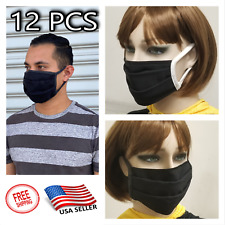 12 Pack Face Mask Black Washable Reusable Unisex Double Layer Face Cover