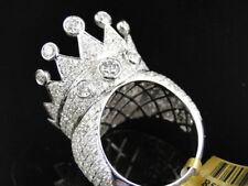 Men's 14K White Gold Round Cut XL Crown Diamond Pave Set Designer Ring