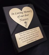 Personalised Engraved Heart Granite Memorial Grave Plaque Stone Permanent Plate