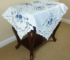 "Elegantlinen Embroidered Embroidery Blue Rose 36x36"" Square Tablecloth"