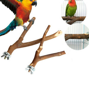 2X Wooden Parrot Bird Stand Tree Branch Hanging Toys Cage Perches Pet 15cm