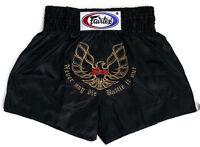 Fairtex Embroided Muay Thai Shorts - Phoenix, Black Satin  BS0642 boxing shorts