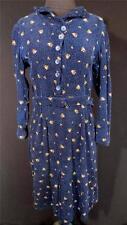 VINTAGE 1930'S-1940'S WWII ERA FRENCH BLUE COTTON CORDOROY PRINT DRESS SIZE 8-10