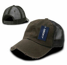 Brown Vintage Washed Distressed Mesh Trucker Baseball Cap Caps Hat Snap Back