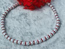 Perlenkette weisse Glasperlen mit rote Kristall Rondelle Hochzeit Abendkleid