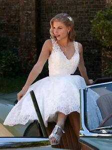 Knee Length Short Lace Wedding Dress Beach Bridal Dress White Ivory Custom Size