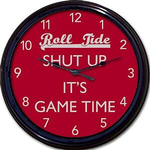 Alabama Crimson Roll Tide Wall Clock Bryant Football Shut Up It's Game Time