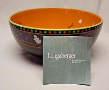 """Longaberger Pottery Halloween Party """"Boo"""" Bowl with Original Box and Certificate"""