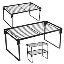 2-Pack Stackable Kitchen Storage Shelf Rack Foldable Spice Rack Cabinet Shelves