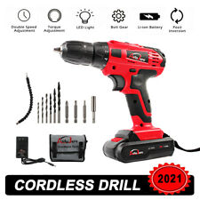 20V Max Electric Screwdriver Cordless Drill Driver Tool Li-Ion Battery 3/8 inch