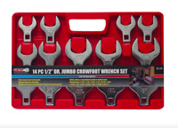 1/2 inch Drive SAE Jumbo Crowfoot Wrench Set 14 Piece Open End Wrenches Tool New