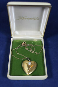 Vintage Krementz Gold Tone Heart Locket Fire Opal With Necklace Signed