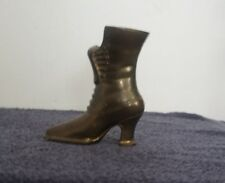 Vintage Brass Boot Vase Shoe Planter Vicorian Lace Up Boot