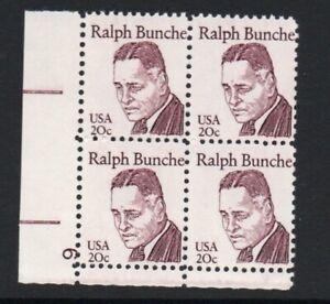 ALLY'S STAMPS US Plate Block Scott #1860 20c Dr. Ralph Bunch [4] MNH F/VF [STK]