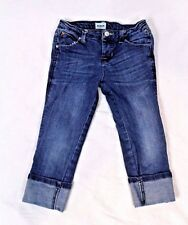 Hudson Girls Denim Skinny Jeans Size 6X Cuffed Flap Pocket Whiskering Spandex
