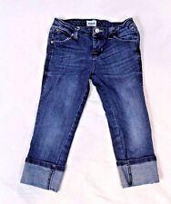 Hudson Girls Denim Skinny Jeans Size 6X Cuffed Flap Pocket Whiskering Spandex