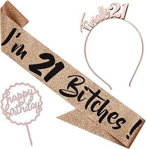 'I'm 21 Bitches' Glitter Birthday Sash and Headband - Rose Gold Glitter & Tiara