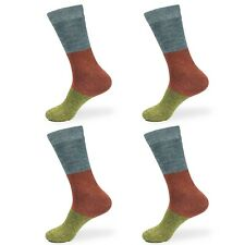 Men's Rayon from Bamboo Fiber Classic Casual Crew Vintage 3 Color Striped Socks