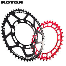 ROTOR Qring Oval Chainring SET Road 110BCDx5 (52,53T/36T-Red chainring )