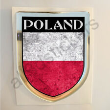 Poland Sticker Resin Domed Stickers Flag Grunge 3D Adhesive Decal Gel Car Moto