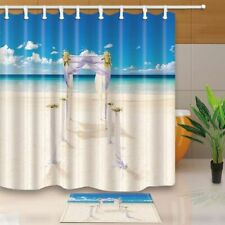 Wedding Arch Full With Flowers On Tropical Sand Beach Waterproof Curtain Set