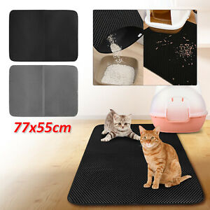 Double Layer Cat Litter Tray Mat EVA Kitten Scatter Control Paw Floor Clean UK