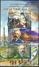CENTRAL AFRICA 150th ANN OF JUES VERNE'S 'FROM THE EARTH TO THE MOON' SHEET  NH