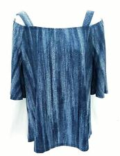 Cocomo Women's Blue Cold Shoulder Short Sleeve Top Casual Shirt Size Small