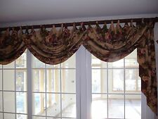 Custom Kravet Fabric Window Curtains Drapes Covered Poles & Finials 3 Sets Swags