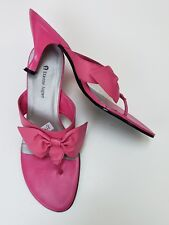 Etienne Aigner Shoes Sandals Heels Pink Slides Bow Thong Sabana Womens Size 7 M