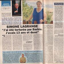 Coupure de presse Clipping 1993 Simone Lagrange torturée par Barbie (1 page1/2)