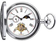 Skeleton Pocket Watch Chromed Half Hunter Polished Back - 17 Jewel Mechanical