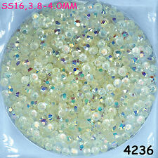 4000pcs SS16 Clear AB Hot-fix Crystal Acryl Rhinestone Bound Beads flatback