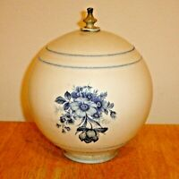 Antique White Milk Glass Ceiling Light Fixture Globe / Shade w/ Blue Flowers