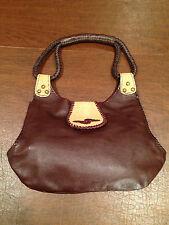 New! DIVINE TRIBE NYC Brown/Beige MAKAHIYA Leather & Stingray Hide Handbag Purse