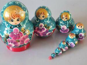 Russian Nesting Dolls  Matryoshka 9 ps 12.5cm Wood handmade hand painted