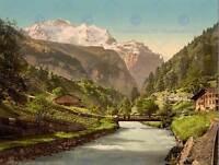 VINTAGE PHOTO LANDSCAPE SWISS ALPS JUNGFRAU MOUNTAIN STREAM ART PRINT CC2361